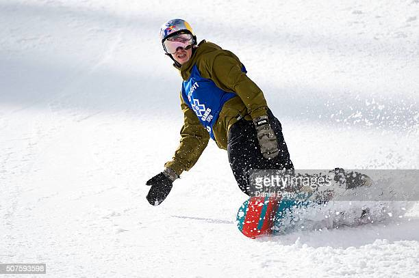 Mark McMorris of Canada comes down for his final run during the men's snowboard slopestyle event at Winter X Games 2016 Aspen at Buttermilk Mountain...
