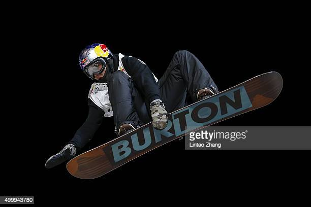 Mark McMorris of Canada competes during the AirStyle Beijing 2015 Snowboard World Cup at Beijing National Stadium on December 4 2015 in Beijing China