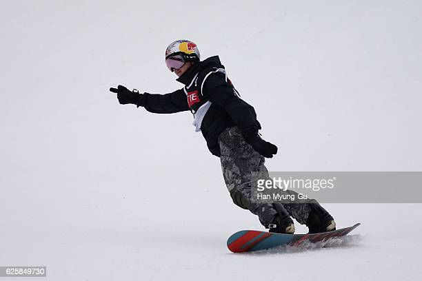 Mark Mcmorris of Canada competes in Mens BA Finals the FIS Snowboard World Cup 2016/17 at Alpensia Ski Jumping Center on November 26 2016 in...