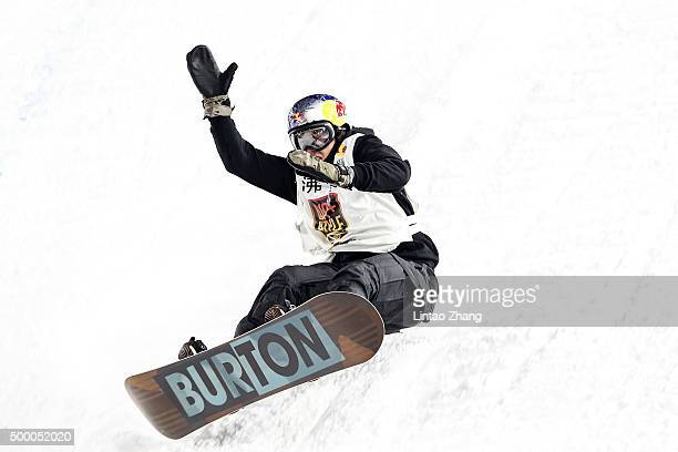 Mark McMorris of Canada crashes in his super final run during the AirStyle Beijing 2015 Snowboard World Cup at Beijing National Stadium on December 5...