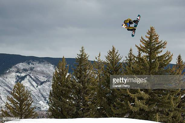 Mark McMorris of Canada hits a backside triple cork 1440 over the final jump of his second run during the men's snowboard slopestyle event at Winter...
