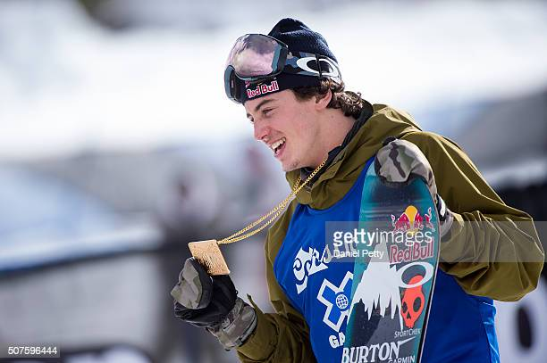 Mark McMorris of Canada reacts after winning the gold medal during the men's snowboard slopestyle at Winter X Games 2016 Aspen at Buttermilk Mountain...