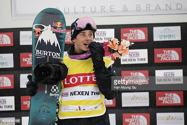 Mark Mcmorris of Canada takes 1st place during Mens BA Finals the FIS Snowboard World Cup 2016/17 at Alpensia Ski Jumping Center on November 26 2016...