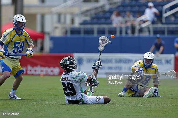 Mark McNeill of Chesapeake Bayhawks passes during the game against the Florida Launch at FAU Stadium on April 26 2015 in Boca Raton Florida