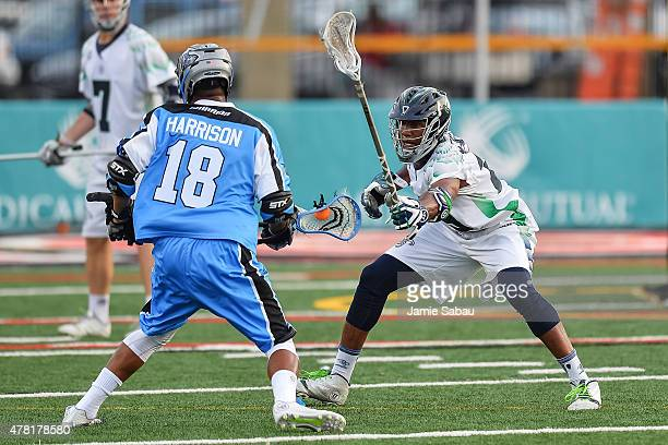 Mark McNeill of the Chesapeake Bayhawks defends against Kyle Harrison of the Ohio Machine on June 20 2015 at Selby Stadium in Delaware Ohio