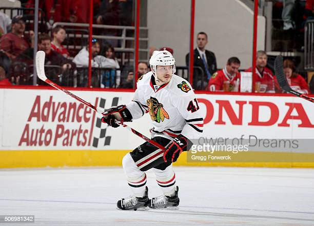 Mark McNeill of the Chicago Blackhawks skates on the ice during an NHL game against the Carolina Hurricanes at PNC Arena on January 26 2016 in...