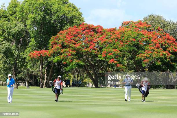 Mark McNulty of Ireland and Peter Fowler of Australia in action during the second round of the MCB Tour Championship played over the Legends Course...