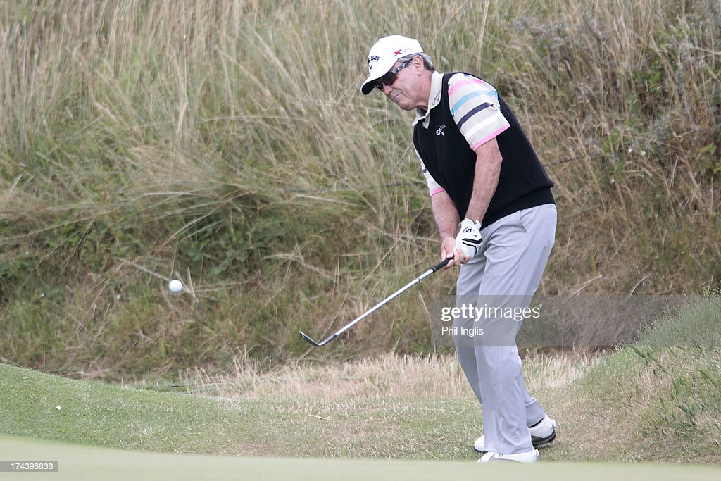 <a gi-track='captionPersonalityLinkClicked' href=/galleries/search?phrase=Mark+McNulty+-+Golfer&family=editorial&specificpeople=15110580 ng-click='$event.stopPropagation()'>Mark McNulty</a> of Ireland in action during the first round of The Senior Open Championship played at Royal Birkdale Golf Club on July 25, 2013 in Southport, United Kingdom.