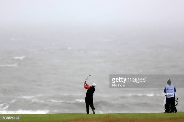 Mark McNulty of Ireland in action during the second round of the Senior Open Championship presented by Rolex at Royal Porthcawl Golf Club on July 28...