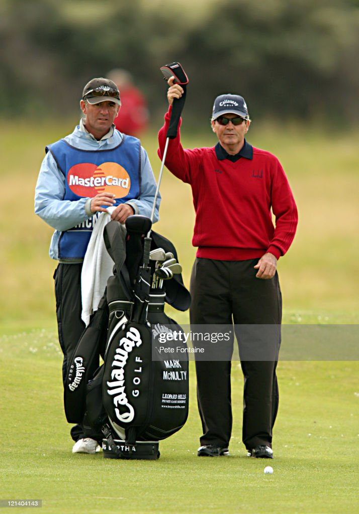 Mark McNulty selects a club during the second round of the Senior British Open at the Royal Portrush Golf Club July 23 2004