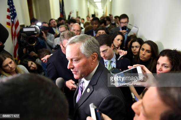 Mark Meadows who is chair of the Freedom Caucus talks with the press after meeting for hours about the Affordable Care Act March 23 2017 in...
