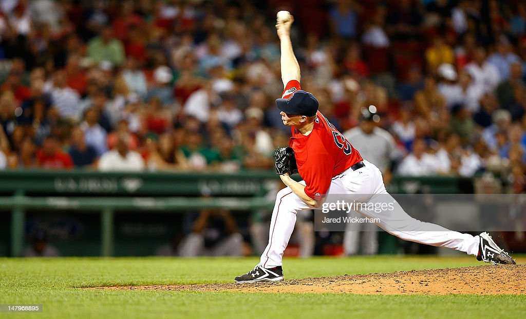 Mark Melancon #37 of the Boston Red Sox pitches against the New York Yankees during the game on July 6, 2012 at Fenway Park in Boston, Massachusetts.