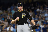 Mark Melancon of the Pittsburgh Pirates celebrates defeating the Los Angeles Dodgers 32 at Dodger Stadium on September 19 2015 in Los Angeles...