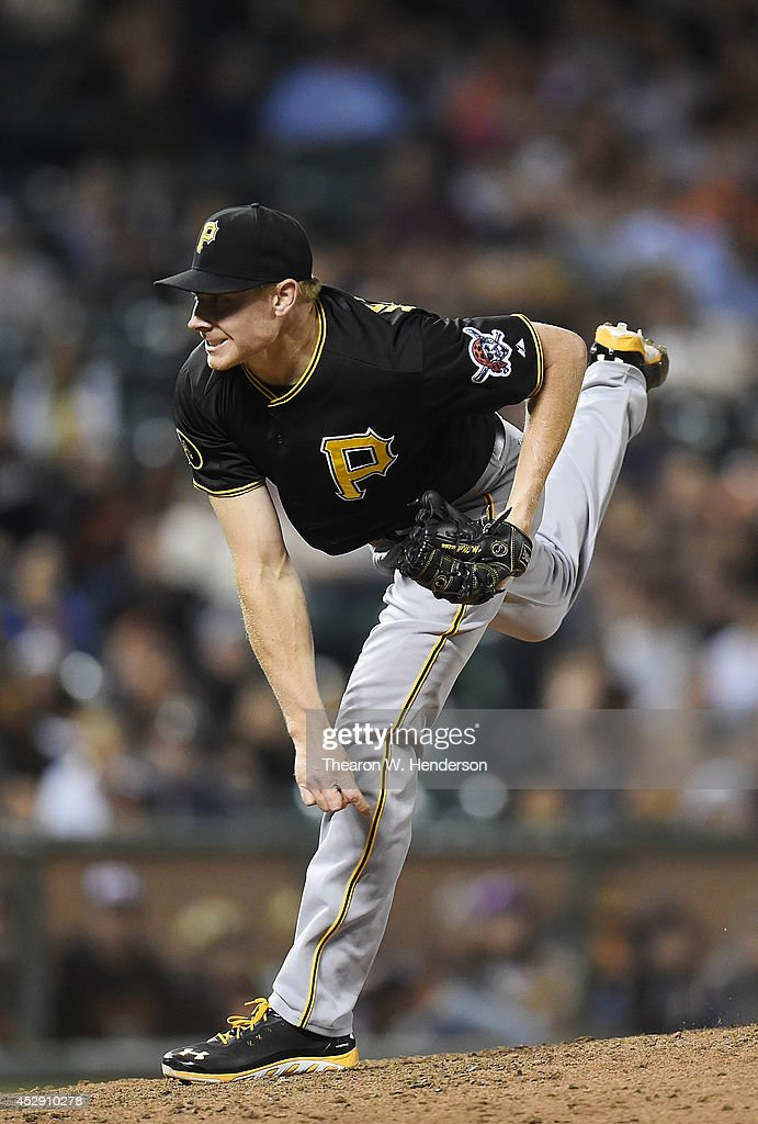 <a gi-track='captionPersonalityLinkClicked' href=/galleries/search?phrase=Mark+Melancon&family=editorial&specificpeople=4900198 ng-click='$event.stopPropagation()'>Mark Melancon</a> #35 of the Pittsburgh Pirates pitches against the San Francisco Giants in the bottom of the ninth inning at AT&T Park on July 29, 2014 in San Francisco, California. The Pirates won the game 3-1.