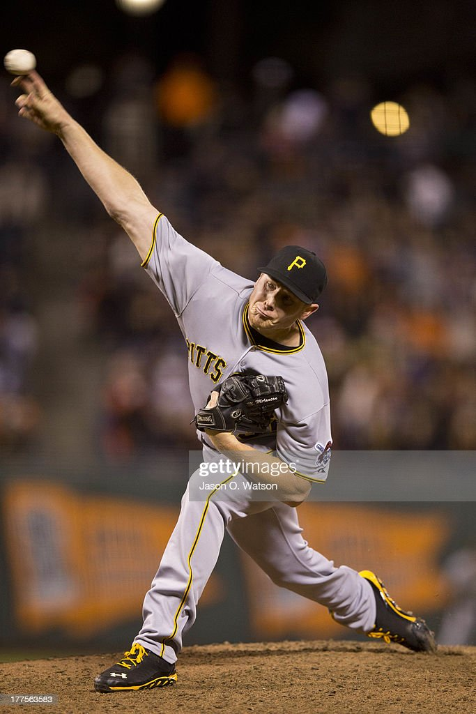 <a gi-track='captionPersonalityLinkClicked' href=/galleries/search?phrase=Mark+Melancon&family=editorial&specificpeople=4900198 ng-click='$event.stopPropagation()'>Mark Melancon</a> #35 of the Pittsburgh Pirates pitches against the San Francisco Giants during the ninth inning at AT&T Park on August 23, 2013 in San Francisco, California. The Pittsburgh Pirates defeated the San Francisco Giants 3-1.