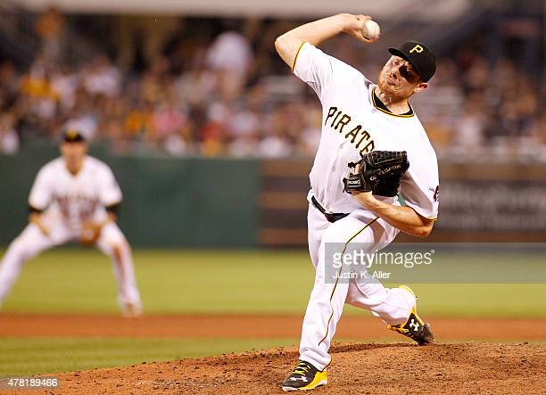 Mark Melancon of the Pittsburgh Pirates pitches during the game against the Milwaukee Brewers at PNC Park on June 10 2015 in Pittsburgh Pennsylvania