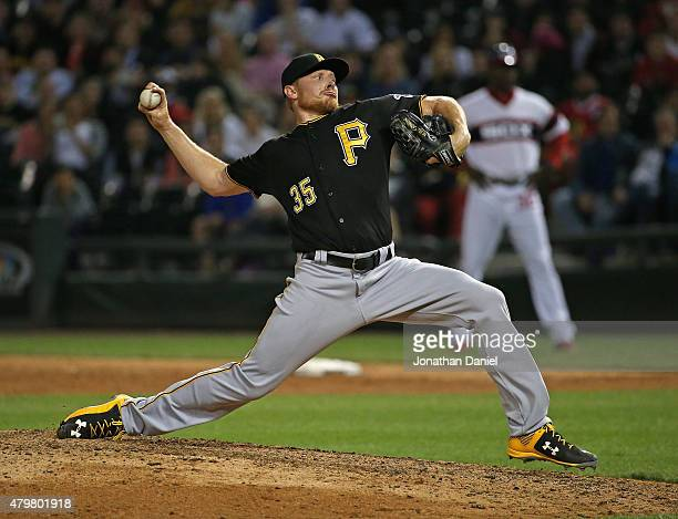 Mark Melancon of the Pittsburgh Pirates pitches for a save in the 9th inning against the Chicago White Sox at US Cellular Field on June 17 2015 in...