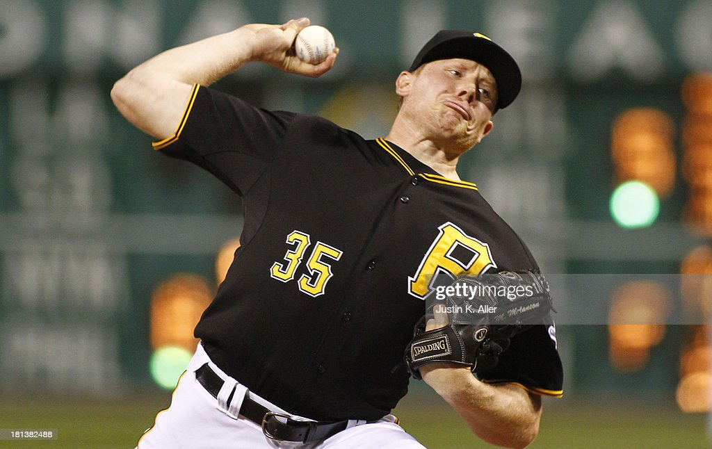 <a gi-track='captionPersonalityLinkClicked' href=/galleries/search?phrase=Mark+Melancon&family=editorial&specificpeople=4900198 ng-click='$event.stopPropagation()'>Mark Melancon</a> #35 of the Pittsburgh Pirates pitches in the ninth inning against the Cincinnati Reds during the game on September 20, 2013 at PNC Park in Pittsburgh, Pennsylvania.