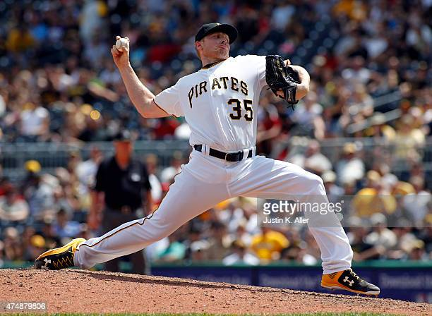 Mark Melancon of the Pittsburgh Pirates pitches in the ninth inning during the game against the Miami Marlins at PNC Park on May 27 2015 in...