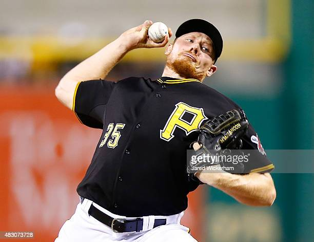 Mark Melancon of the Pittsburgh Pirates pitches in the ninth inning against the Chicago Cubs during the game at PNC Park on August 5 2015 in...