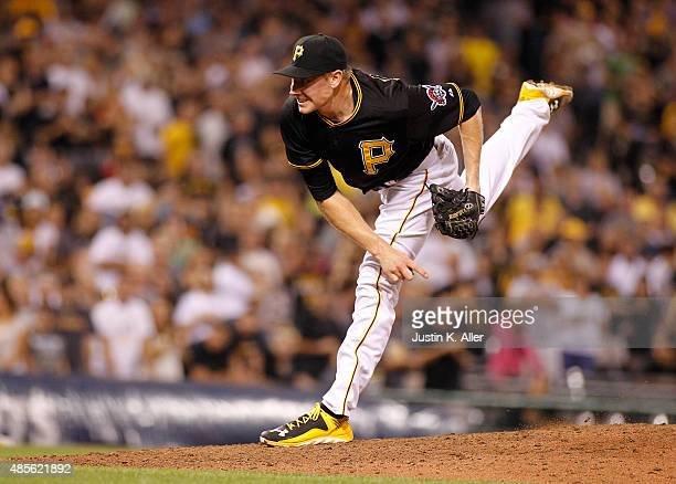 Mark Melancon of the Pittsburgh Pirates pitches in the ninth inning during the game against the Colorado Rockies at PNC Park on August 28 2015 in...