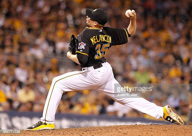 Mark Melancon of the Pittsburgh Pirates pitches in the ninth inning during the game against the Colorado Rockies at PNC Park on August 29 2015 in...