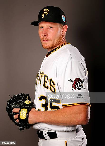 Mark Melancon of the Pittsburgh Pirates poses for a portrait on February 25 2016 at Pirate City in Bradenton Florida