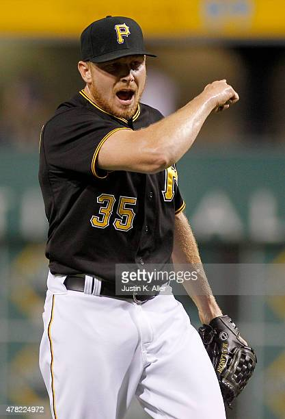 Mark Melancon of the Pittsburgh Pirates reacts after defeating the Cincinnati Reds 76 at PNC Park on June 23 2015 in Pittsburgh Pennsylvania