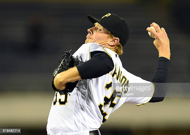 Mark Melancon of the Pittsburgh Pirates throws a pitch during the ninth inning against the St Louis Cardinals on April 6 2016 at PNC Park in...