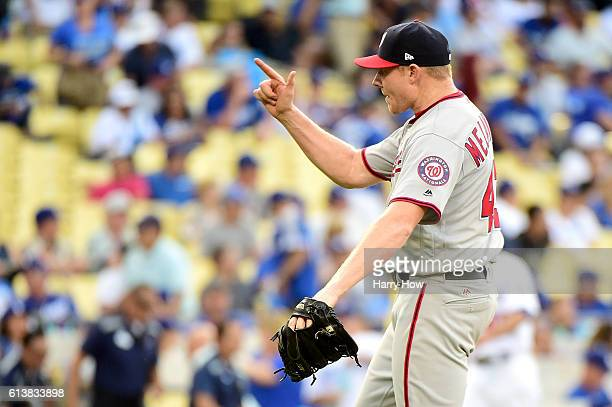 Mark Melancon of the Washington Nationals reacts after the final out as the Nationals defeat the Los Angeles Dodgers 83 in game three of the National...