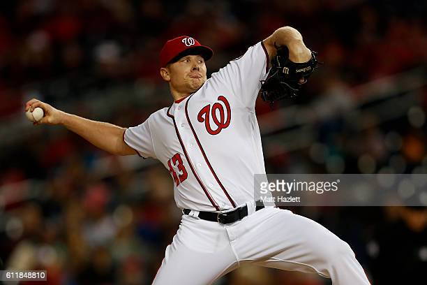 Mark Melancon of the Washington Nationals works in the eighth inning against the Miami Marlins at Nationals Park on October 1 2016 in Washington DC