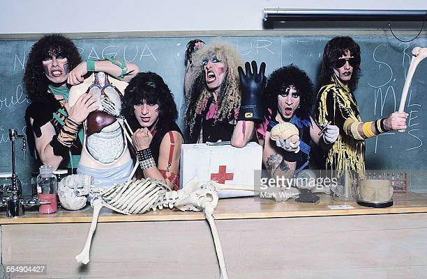 Mark Mendoza Eddie Ojeda Dee Snider AJ Pero and Jay Jay French of Twisted Sister group portrait on the set of the video shoot for their single 'I...