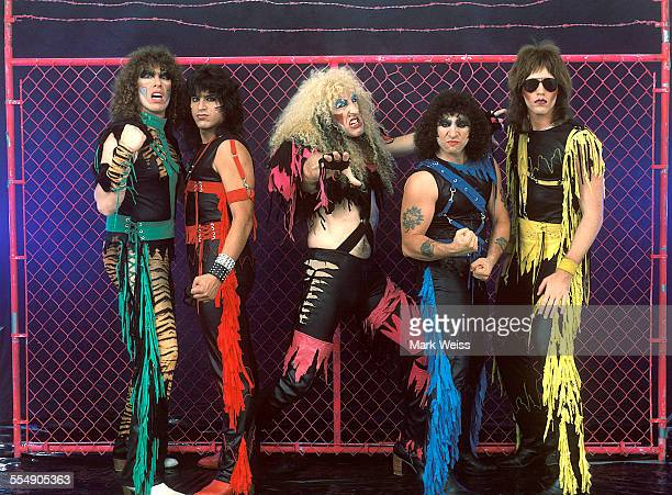 Mark Mendoza Eddie Ojeda Dee Snider AJ Pero and Jay Jay French of Twisted Sister group portrait Los Angeles California United States 1984