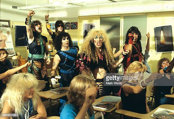 Mark Mendoza Jay Jay French AJ Pero Dee Snider and Eddie Ojeda of Twisted Sister on the set of the video shoot for their single 'I Wanna Rock' Los...