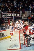 Mark Messier Esa Tikkanen and Sergei Zubov of the New York Rangers celebrate their goal against goalie Martin Brodeur of the New Jersey Devils during...