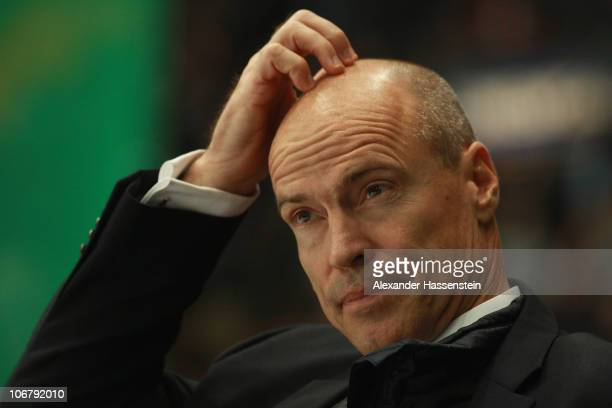 Mark Messier head coach of Canada reacts during the German Ice Hockey Cup 2010 first round game between Germany and Canada at the Olympiahalle on...
