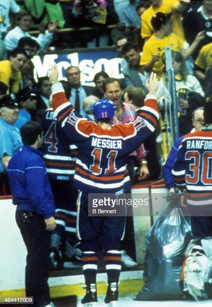 Mark Messier of the Edmonton Oilers skates off the ice after Game 5 of the 1990 Stanley Cup Finals against the Boston Bruins on May 24 1990 at the...