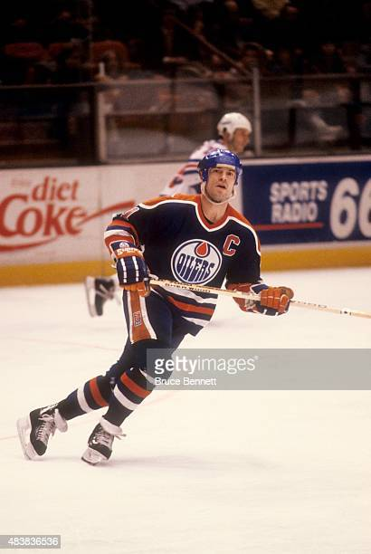 Mark Messier of the Edmonton Oilers skates on the ice during an NHL game against the New York Rangers circa 1990 at the Madison Square Garden in New...