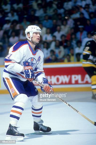 Mark Messier of the Edmonton Oilers skates on the ice during the 1988 Stanley Cup Finals against the Boston Bruins in May 1988 at the Northlands...