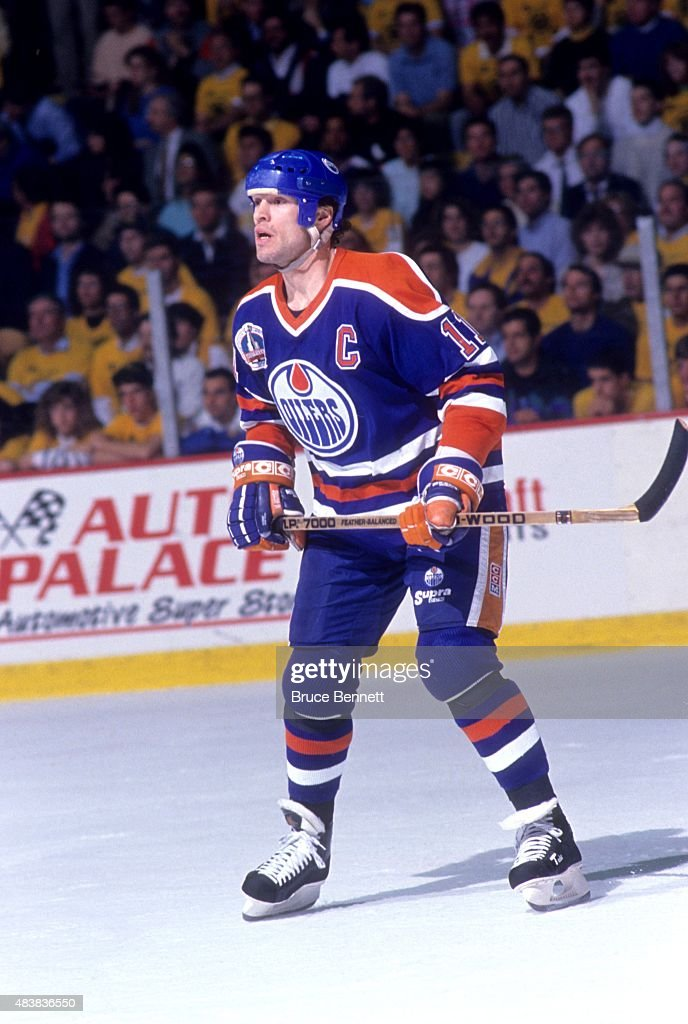 Mark Messier #11 of the Edmonton Oilers skates on the ice during the 1990 Stanley Cup Finals against the Boston Bruins in May, 1990 at the Boston Garden in Boston, Massachusetts.