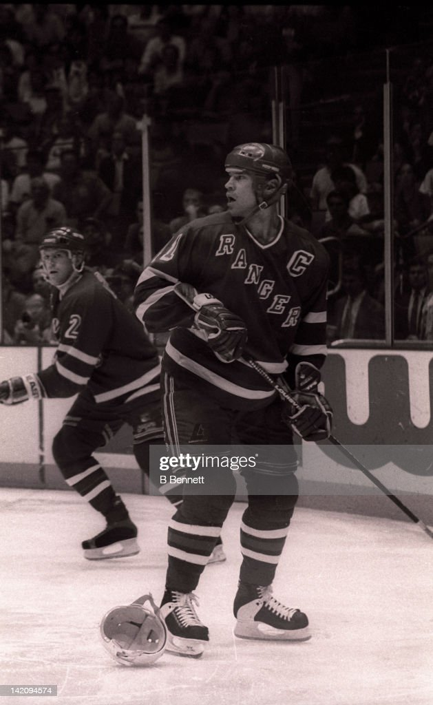 Mark Messier #11 of the New York Rangers watches the play during Game 6 of the Eastern Conference Finals against the New Jersey Devils on May 25, 1994 at the Brendan Byrne Arena in East Rutherford, New Jersey.