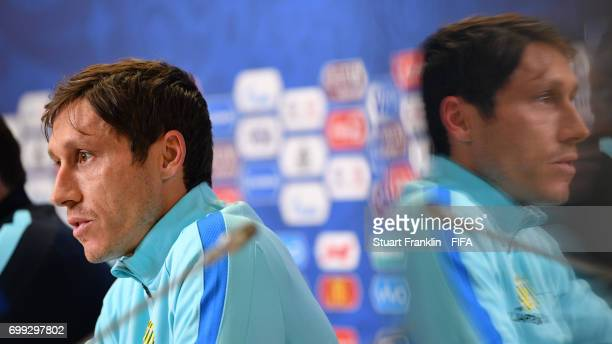 Mark Milligan captain of Australia talks with the media during a press conference on June 21 2017 in Saint Petersburg Russia