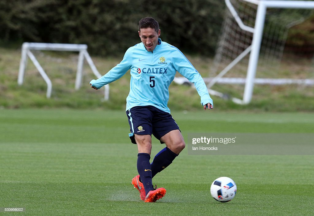 Mark Milligan during a Australia National football team training session at The Academy of Light on May 24, 2016 in Sunderland, England.