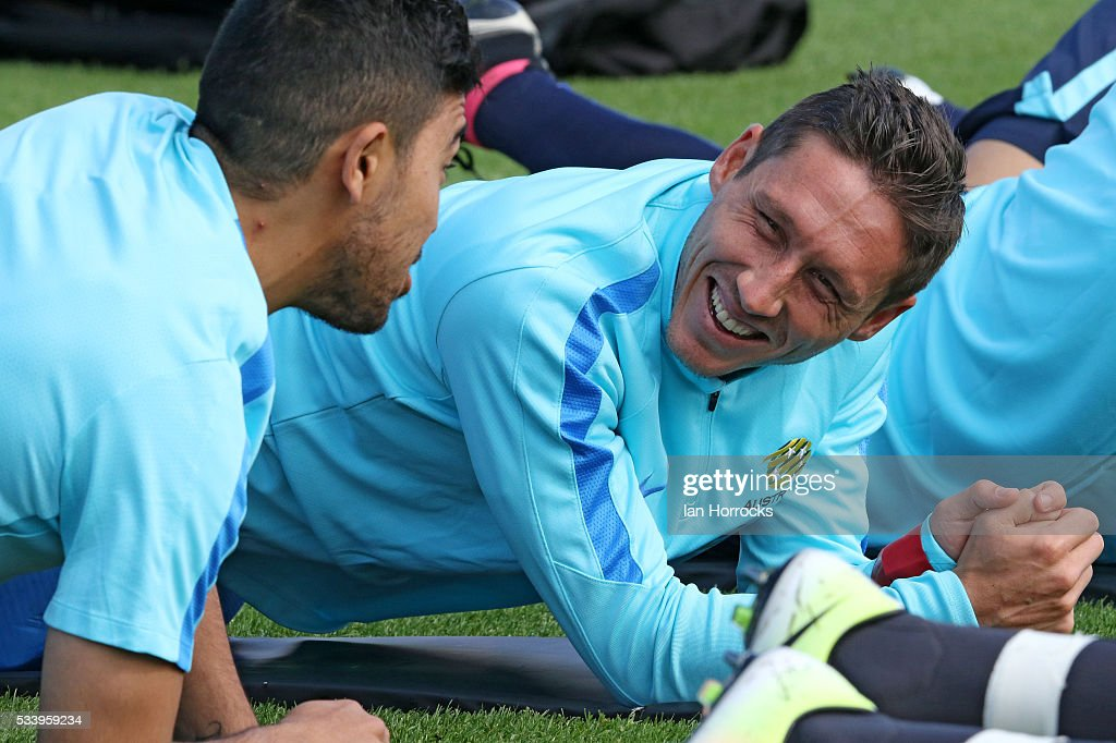 Mark Milligan during an Australia National football team training session at The Academy of Light on May 24, 2016 in Sunderland, England.