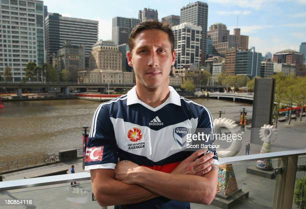 Mark Milligan newly appointed captain of the Victory poses during a Melbourne Victory ALeague Media Announcement at Crown Casino on September 17 2013...