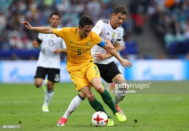 Mark Milligan of Australia and Leon Goretzka of Germany battle for possession during the FIFA Confederations Cup Russia 2017 Group B match between...