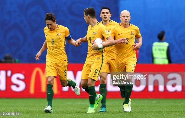 Mark Milligan of Australia celebrates scoring their first goal from the penalty spot during the FIFA Confederations Cup Russia 2017 Group B match...