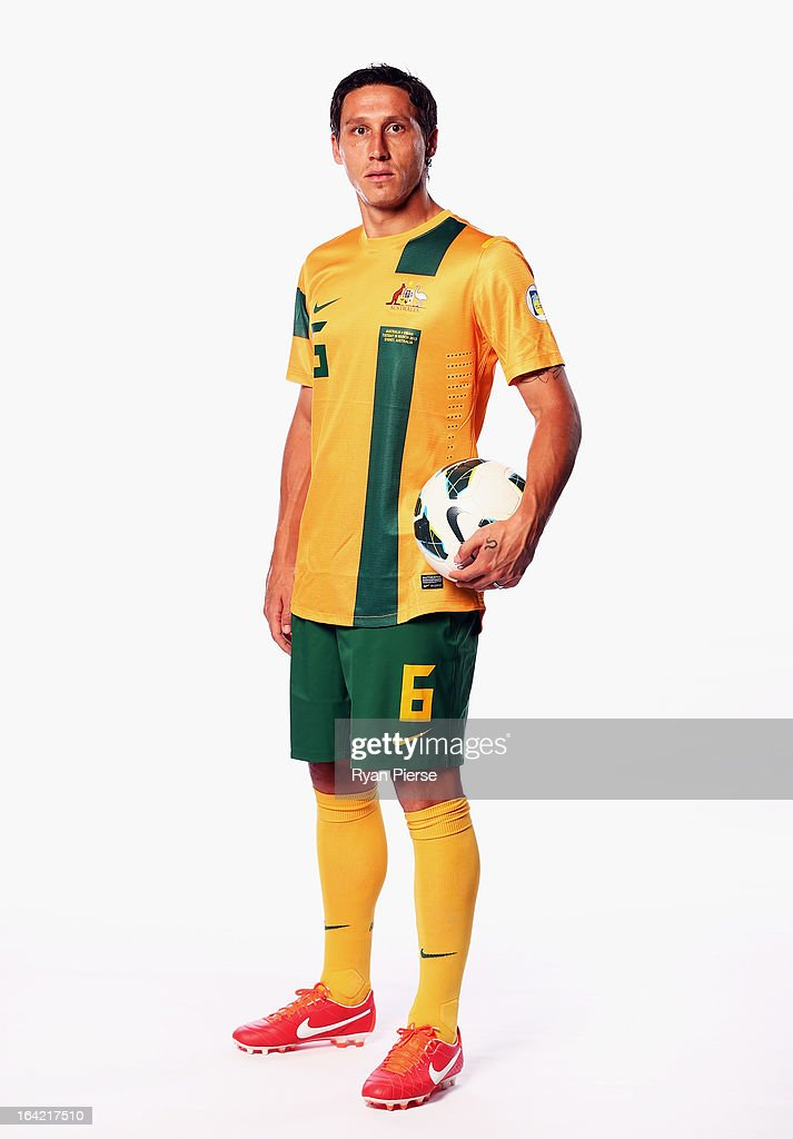 <a gi-track='captionPersonalityLinkClicked' href=/galleries/search?phrase=Mark+Milligan&family=editorial&specificpeople=557185 ng-click='$event.stopPropagation()'>Mark Milligan</a> of Australia poses during a Socceroos Portrait Session on March 21, 2013 in Sydney, Australia.