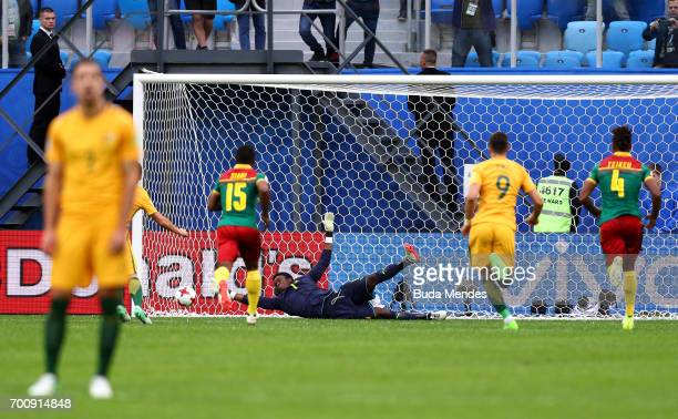 Mark Milligan of Australia scores their first goal from the penalty spot during the FIFA Confederations Cup Russia 2017 Group B match between...