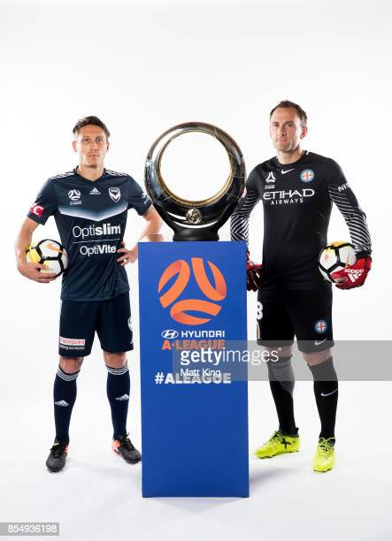 Mark Milligan of the Melbourne Victory and Eugene Galekovic of Melbourne City FC pose during the ALeague Media Day on September 26 2017 in Sydney...